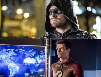Imagem de cartazes de divulgação de Arrow e Flash